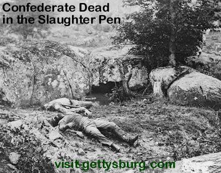 Dead Confederate Soldiers in the Slaughter Pen at Gettysburg