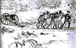 Peach Orchard sketch of dragging a cannon