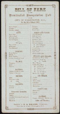 Inauguration Dinner Menu 1865